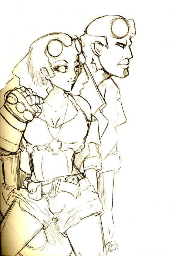 Hellboy and Hellgirl SK by bastett