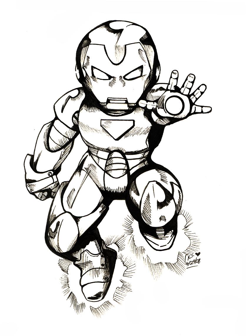 Chibi Avengers Coloring Pages : Iron man chibi bw by bastett on deviantart