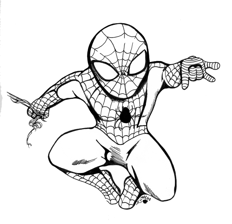 Blank Coloring Pages Spider Man