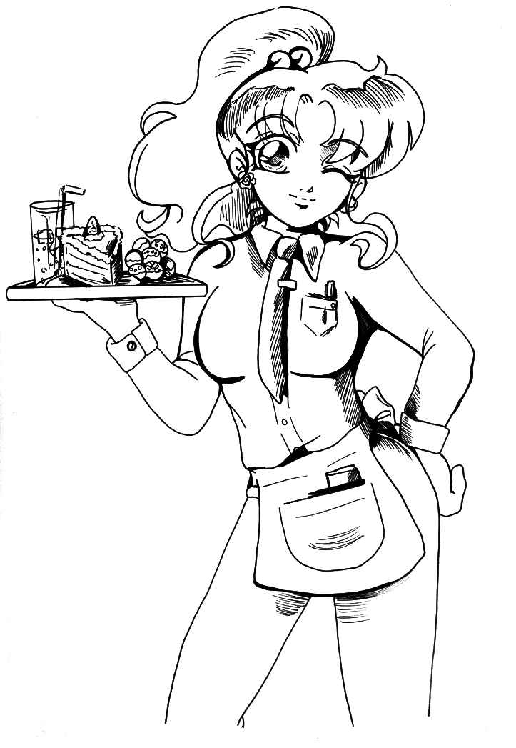 Waitress Coloring Pages