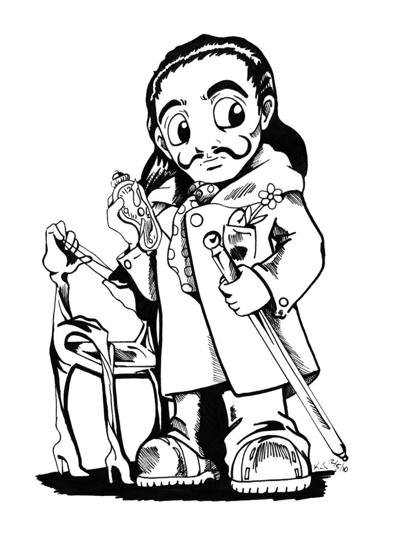 Salvador Dali Chibi by bastett on DeviantArt