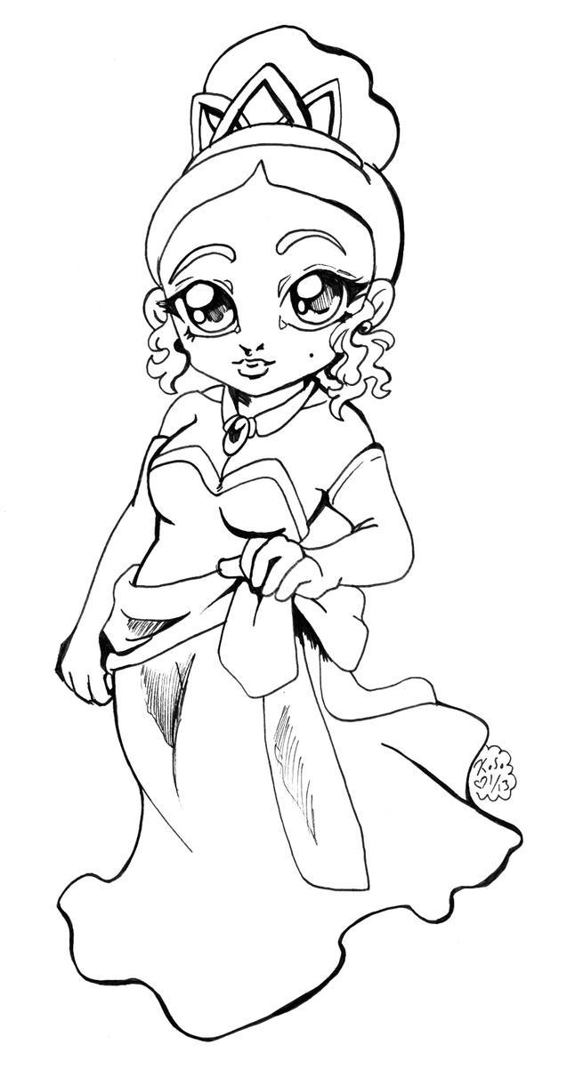 Disney Princess Tiana Chibi Bw By Bastett On Deviantart Princess Drawing Sheets