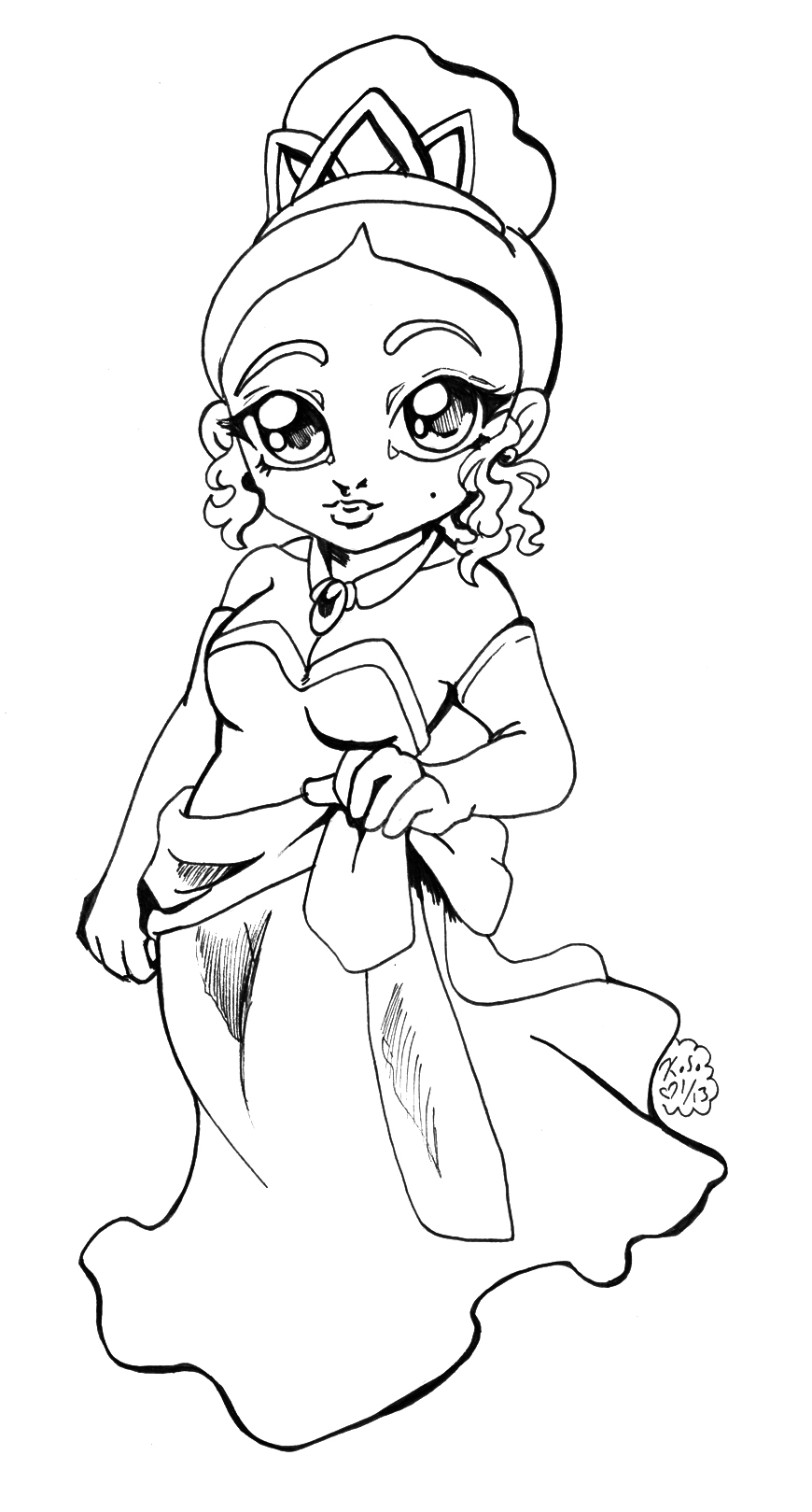 Disney Princess Tiana Chibi BW by bastett on DeviantArt