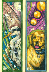 Heron/Golden Bookmarks by bastett