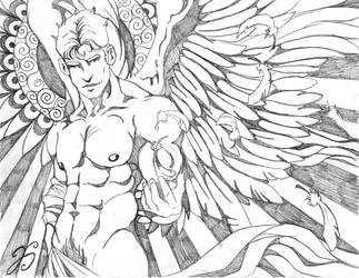 Angel Drawing by Dharmajon
