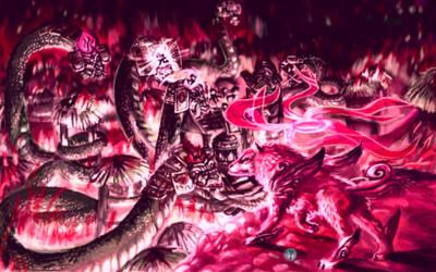 Orochi final battle by Flama-foxangel