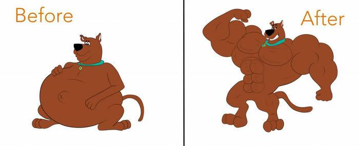 Scooby Doo muscle growth  by buffwolf14