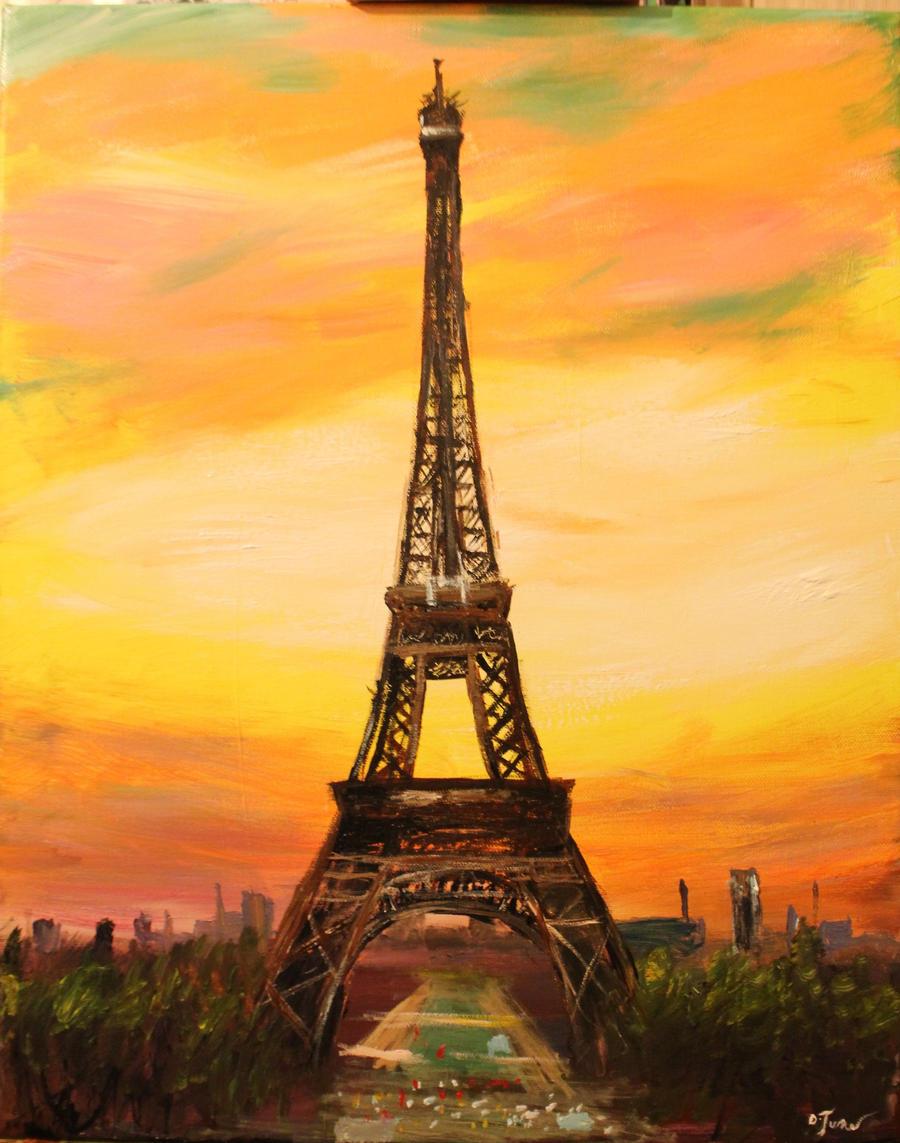 Sunset Eiffel Tower by DinosaurCat on DeviantArt  Eiffel Tower Painting Landscape