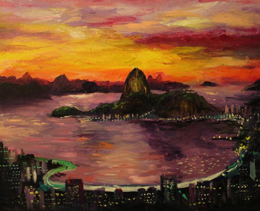 a painting of rio de janeiro brazil by sunset by dinosaurcat on deviantart. Black Bedroom Furniture Sets. Home Design Ideas