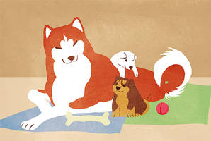 Fuji and Her Pups by Stumppa