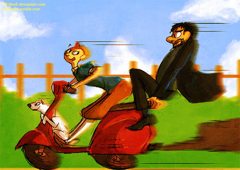 Tin Tin, Dog, Captain and Vespa