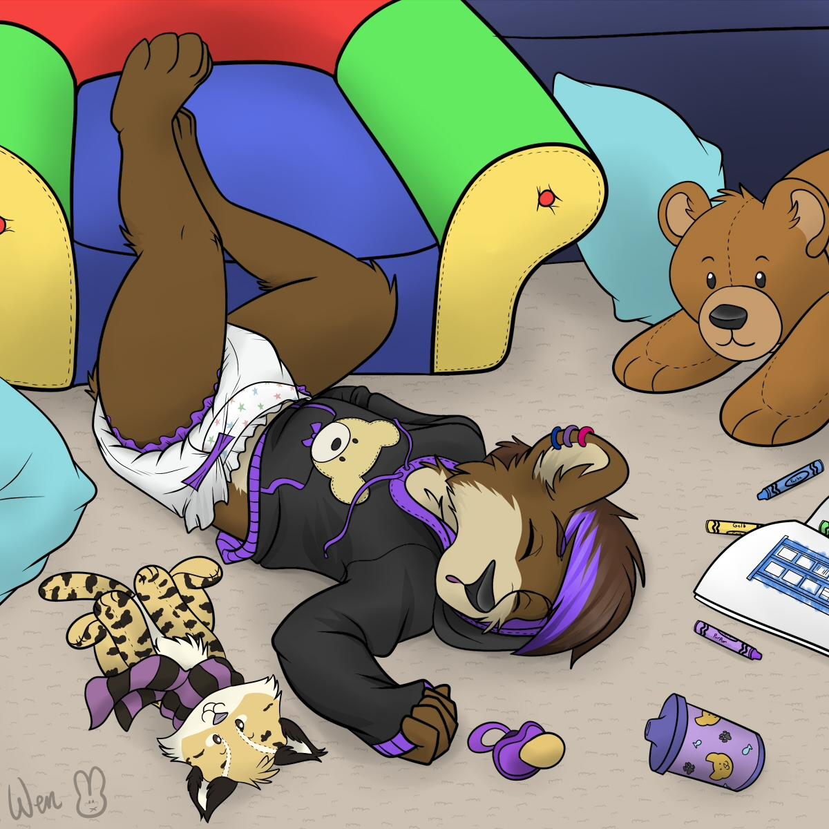 Sleepy cub by Ghostbear2k