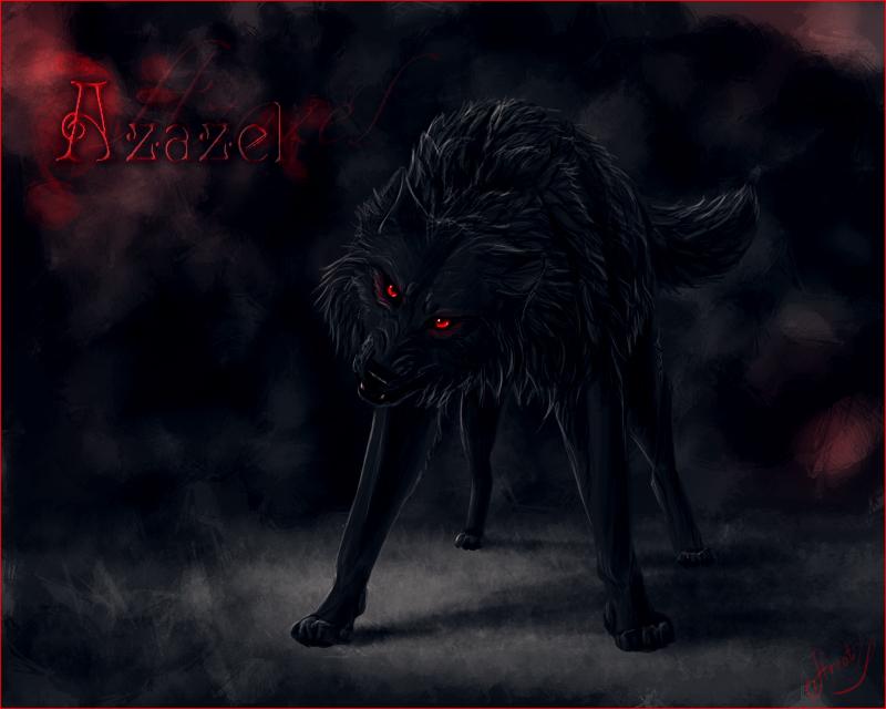 Black wolf red eyes