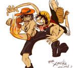 Art Trade- Ace+Luffy