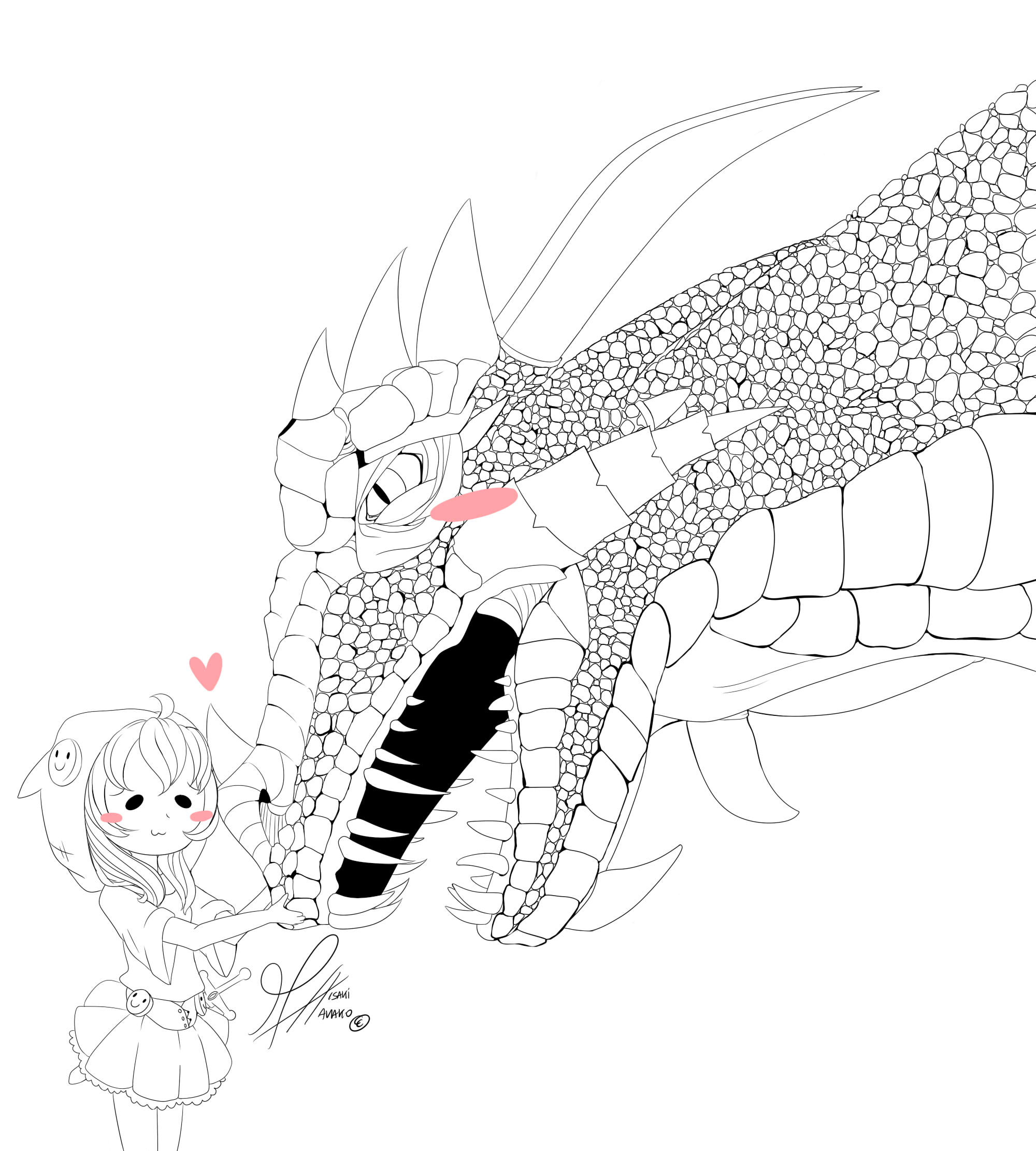 the dragon and I ::lineart:: by MisakiHanako