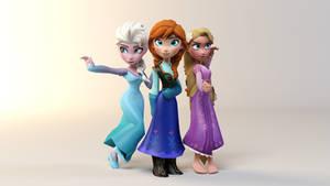 Elsa, Anna, and Rapunzel