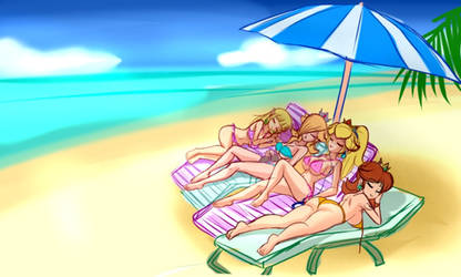 Nintendo Girls at the beach by SigurdHosenfeld by krimzon123