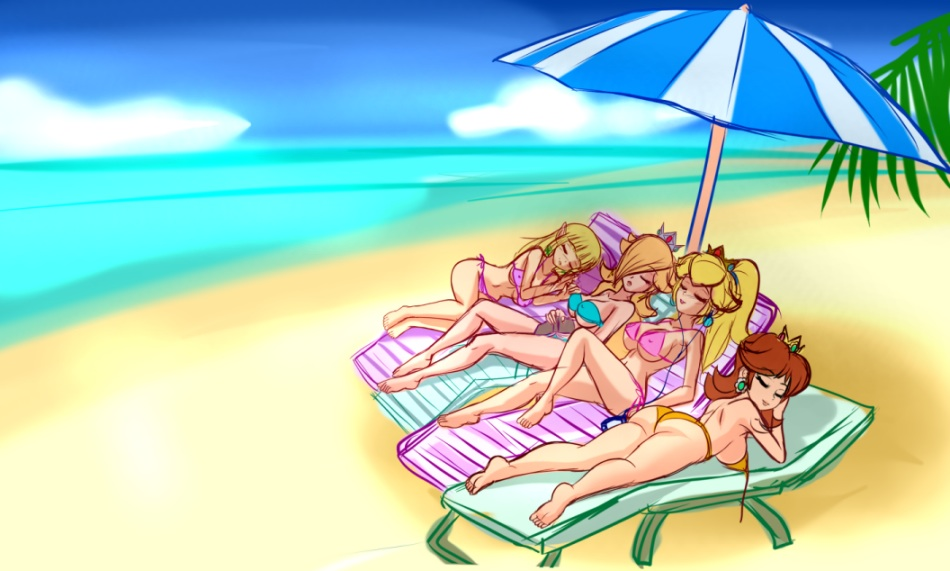Nintendo Girls at the beach by SigurdHosenfeld by krimzon123