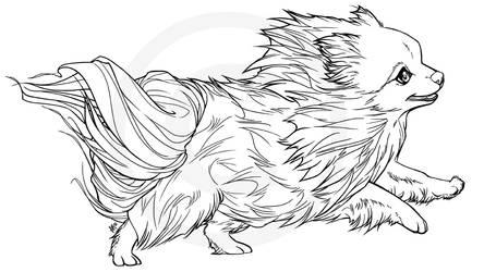 Mini the Pomeranian -lineart (not free to use)- by henu