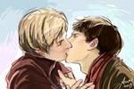 Sketch Merlin X Arthur kisses by woshibbdou