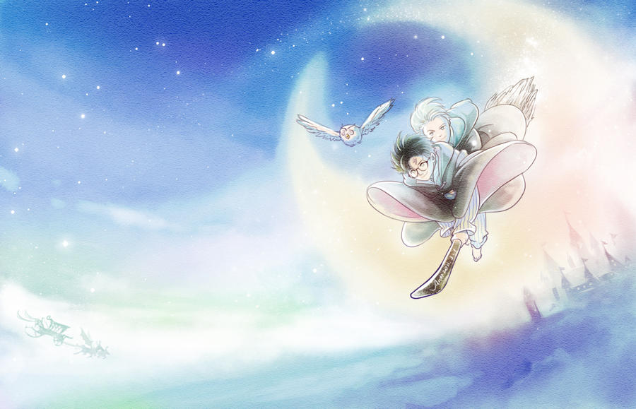 flying under the moon by woshibbdou