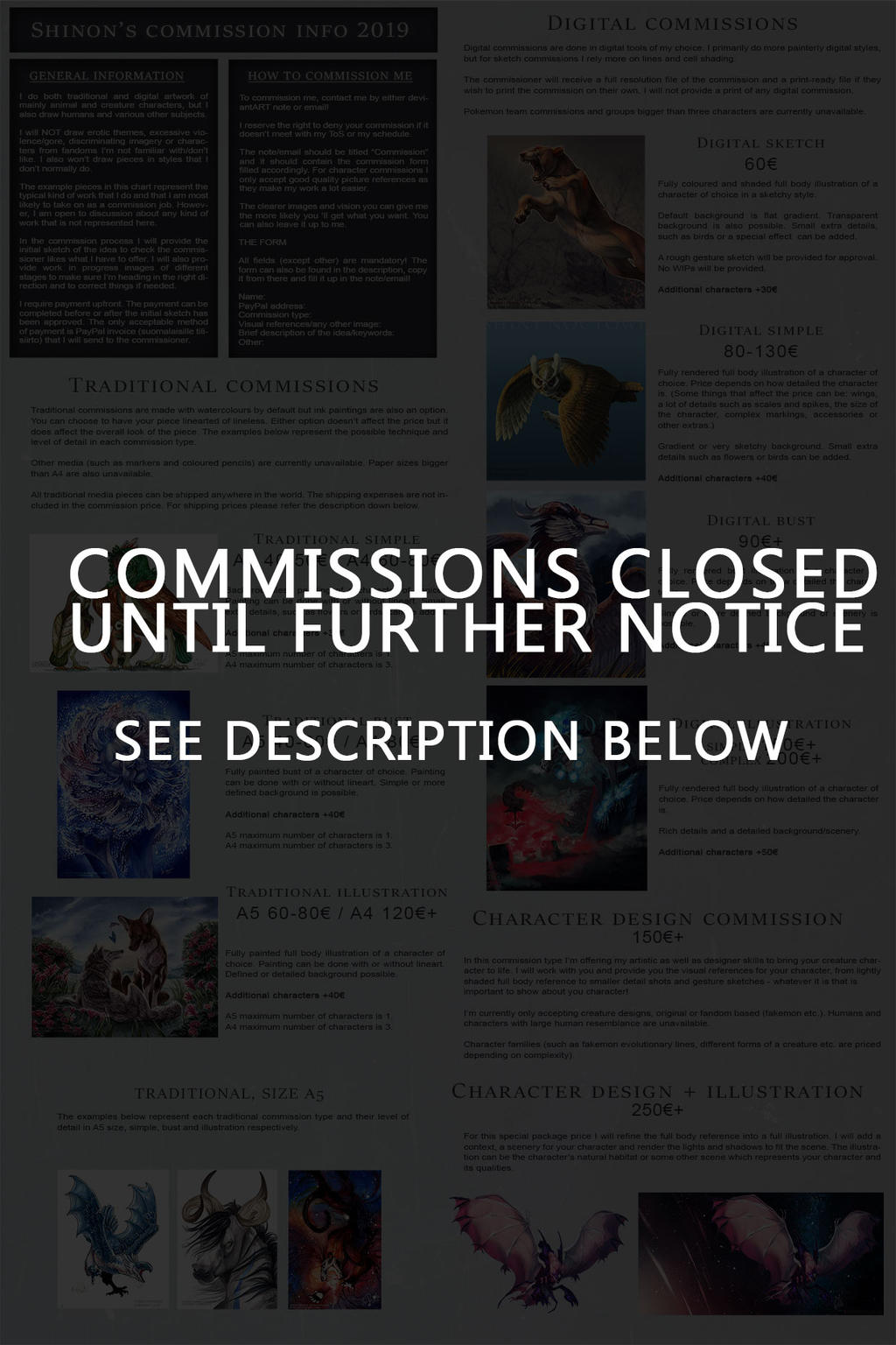 COMMISSIONS CLOSED UNTIL FURTHER NOTICE
