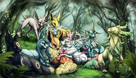 Commission: Eeveelution Forest