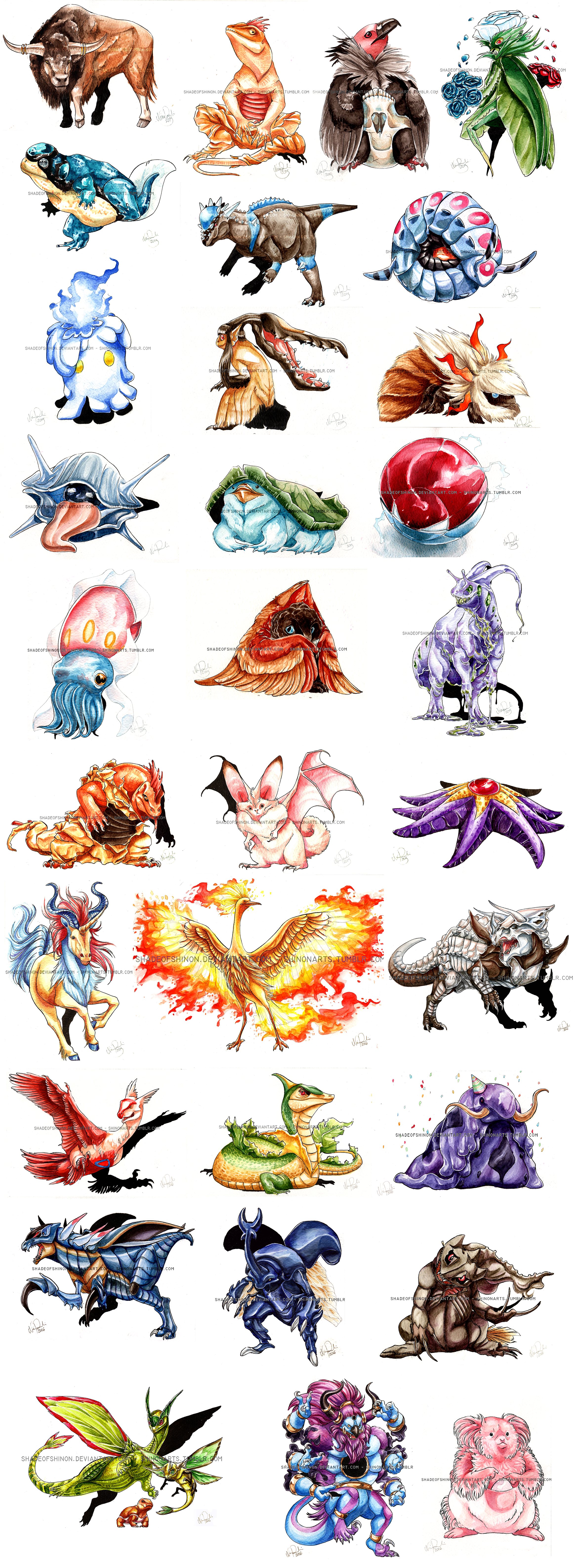 POKEDDEX 2015 RANDOMIZED - PAINTINGS FOR SALE by ShadeofShinon