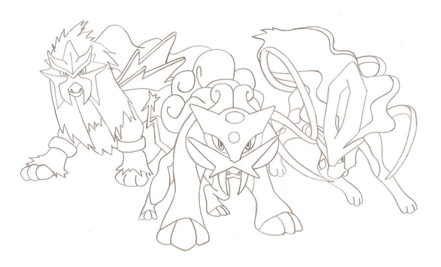 pokemon coloring pages legendary - legendary dogs by runedragonc on deviantart