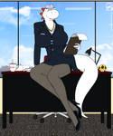 Secretary White Yoshi girl waiting in her Office