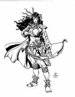 Card Game: Char_Design_Female Wood Elf Archer by geniuspen
