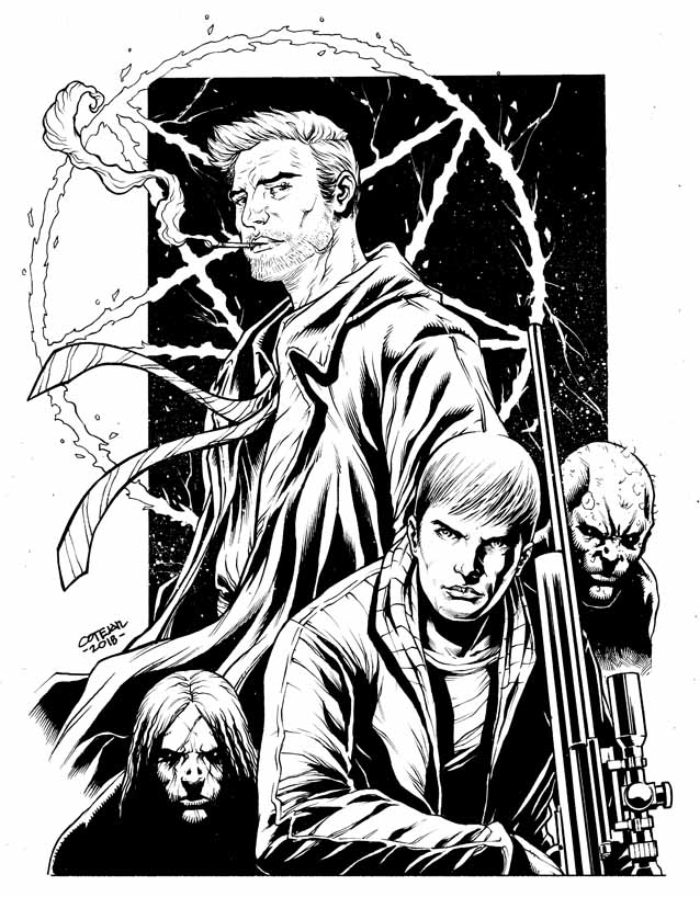 Crossover David of Ghost Assassin and Constantine by geniuspen