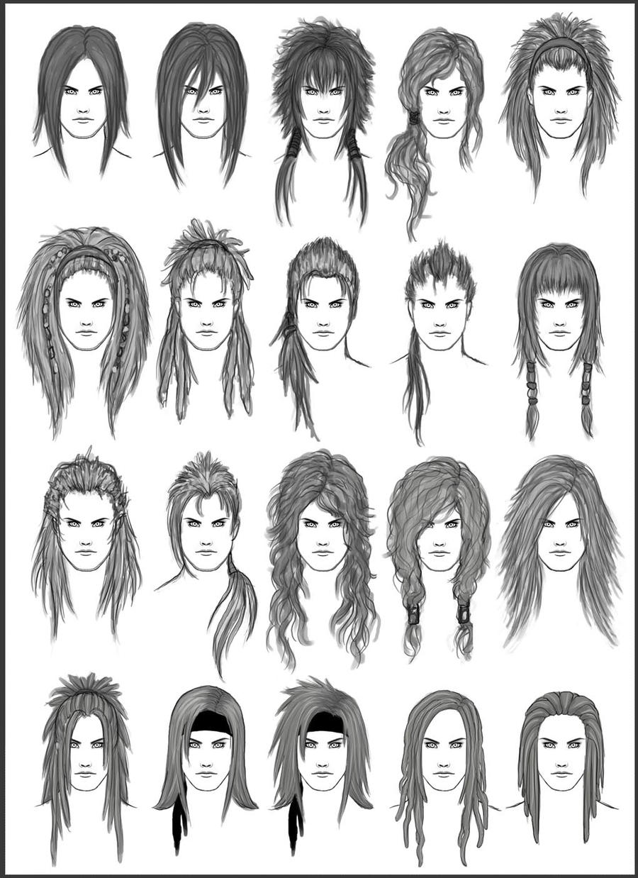 Hairstyles For Long Hair Drawing : Mens Hair - Set 2 by dark-sheikah on DeviantArt