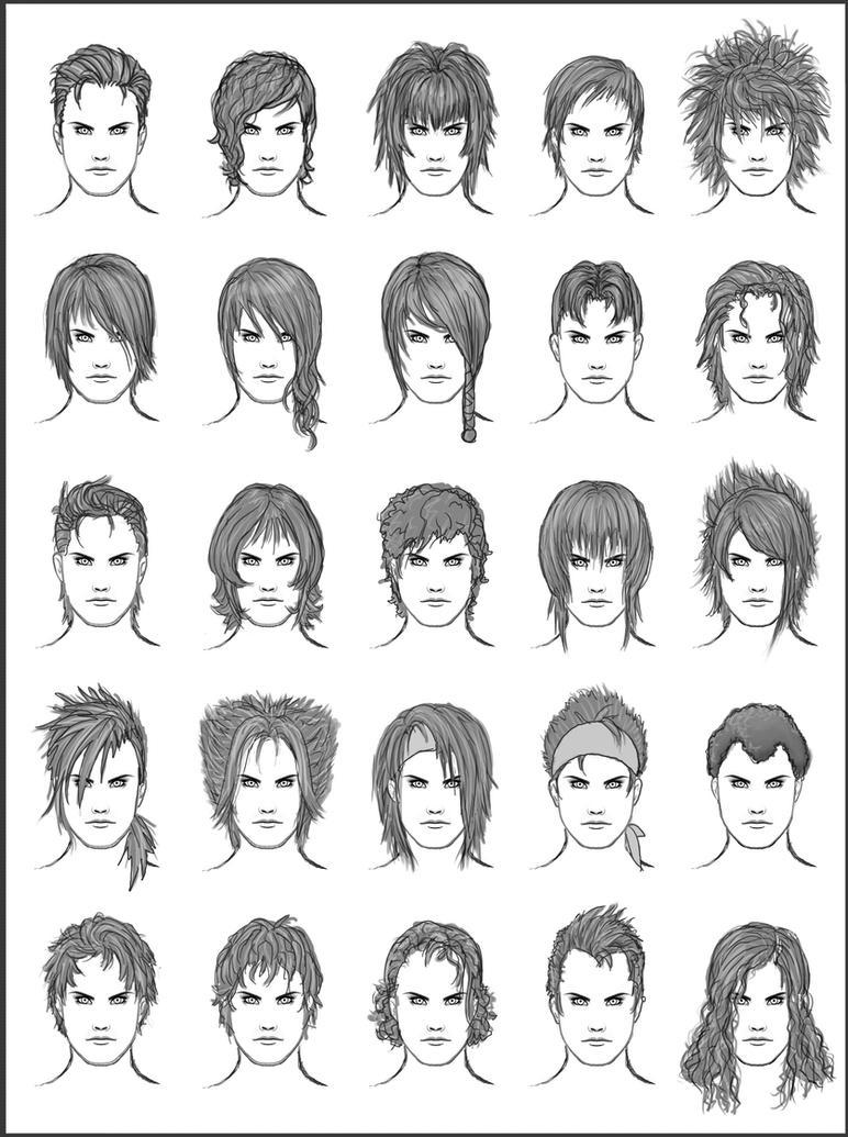 Mens Hair Set By Darksheikah On DeviantArt - Anime hairstyle guys