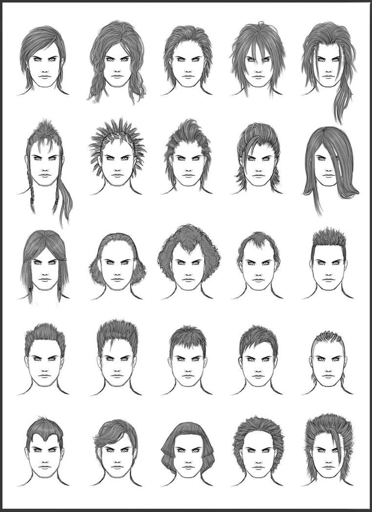 Boy Haircuts Drawing : Men s hair set by dark sheikah on deviantart