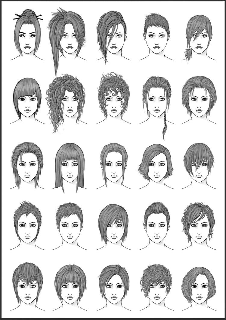 Different Female Hairstyles Drawing