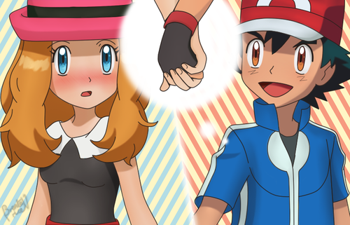Serena and ash kiss serena and ash holds hands 3