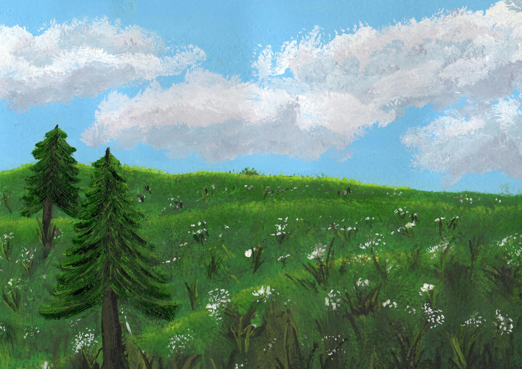 Landscape Painting by B4ItWasMainstream