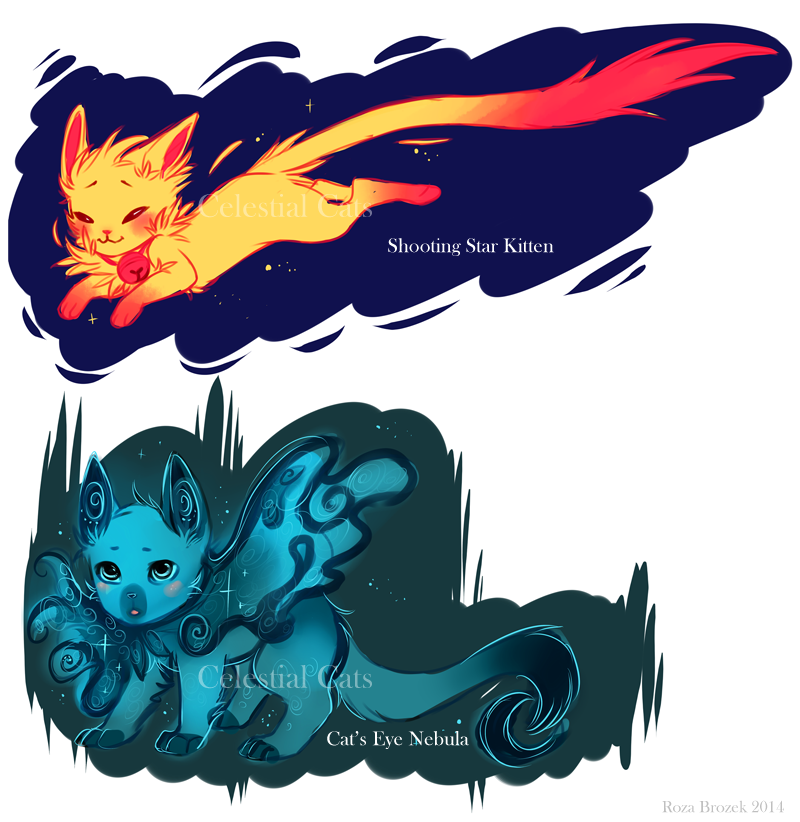 Celestial Cats::Shooting Star and Cat's Eye Nebula by TotemEye