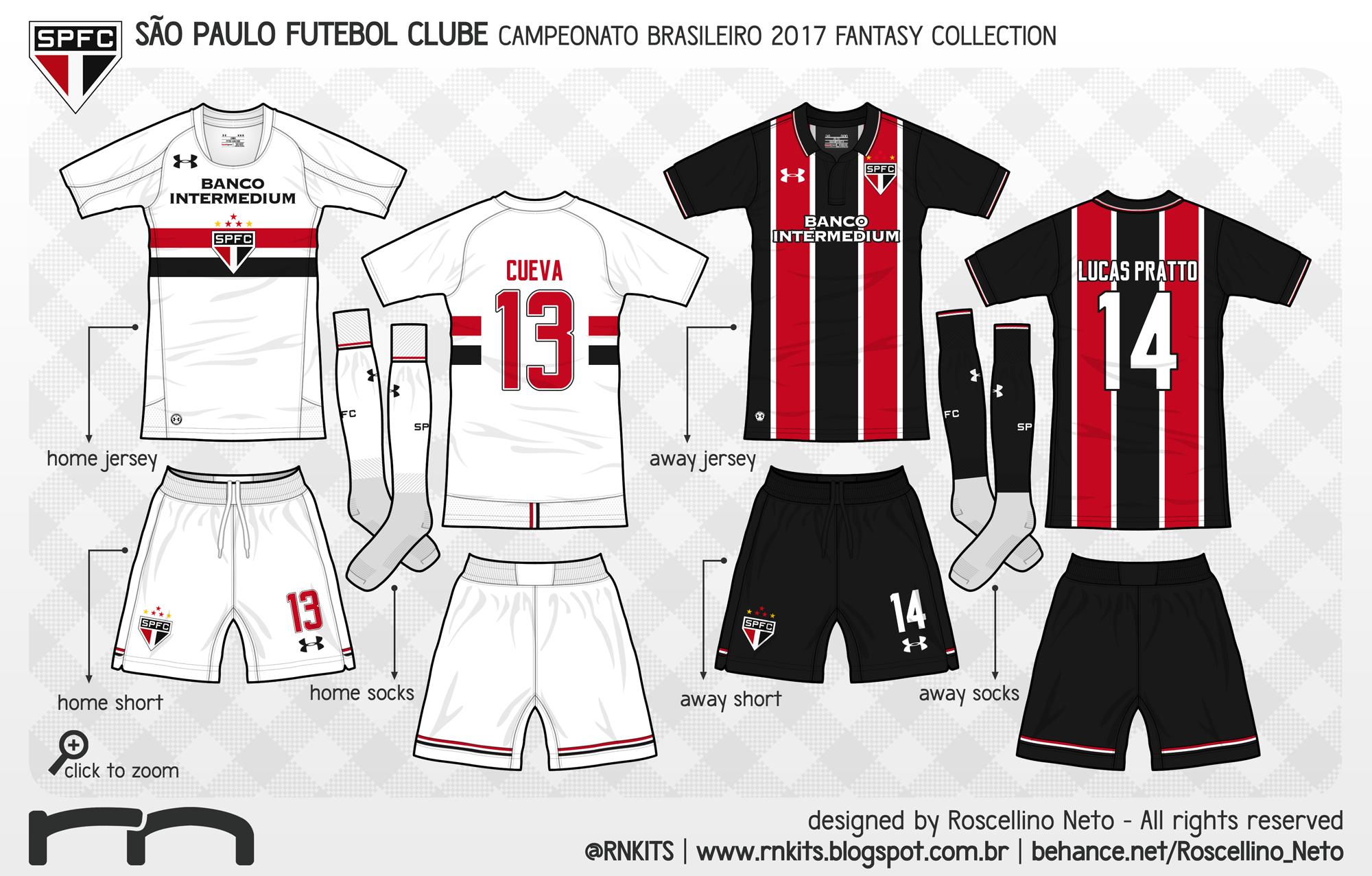 88e319a3fe O segundo clube da UA é o São Paulo. O kit home alia a tradição da camisa  São-Paulina aos cortes arrojados