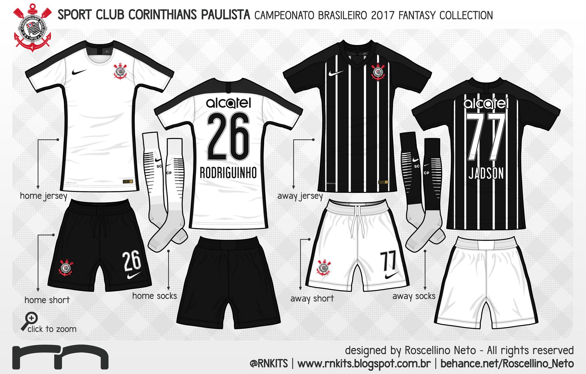 O Corinthians é o único clube patrocinado pela Nike no campeonato. O kit  home vem com a combinação tradicional 22b46dc112c94