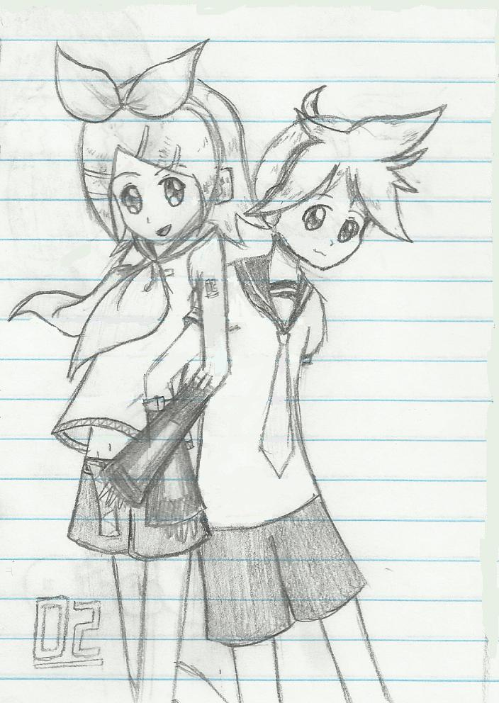 Rin and Len Kagamine by kittyneko903