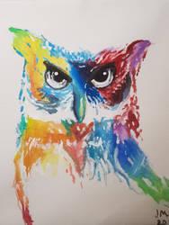 Rainbow owl by yadnamas2