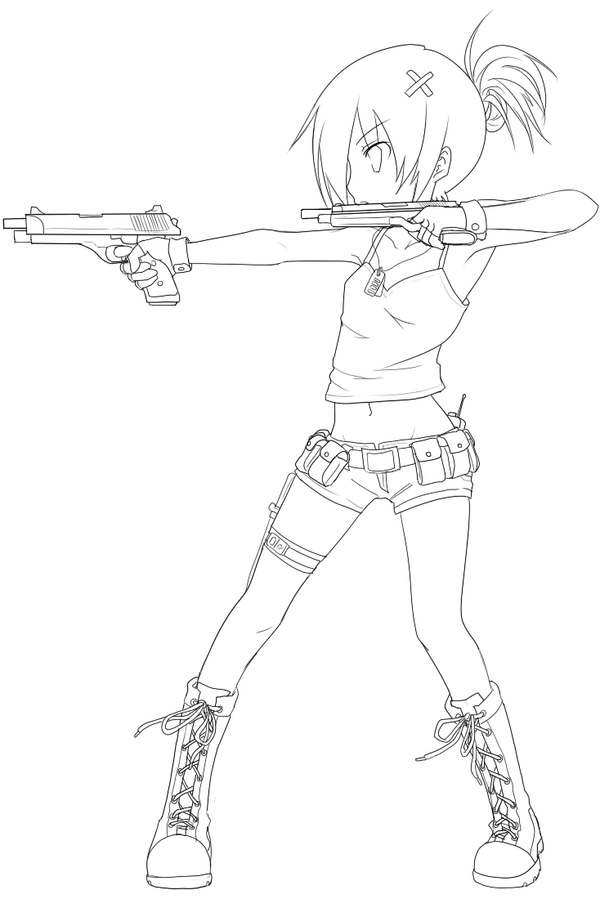 One Line Art Gun : Gunner lineart by nickbeja on deviantart