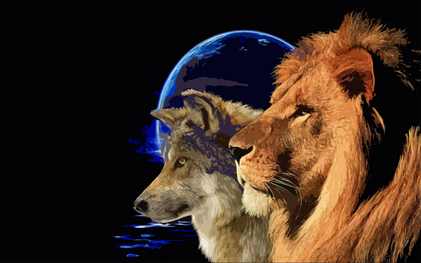 Wolf and Lion b...