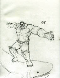 Hulk Space Shark Surfing Sketch