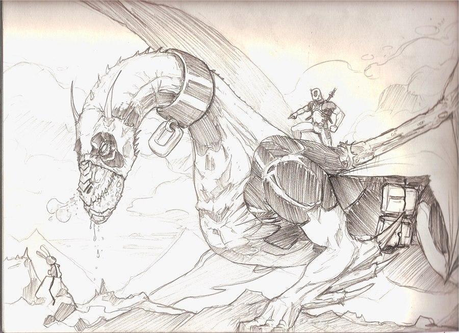 Deadpool Dragon Bunny by xashe