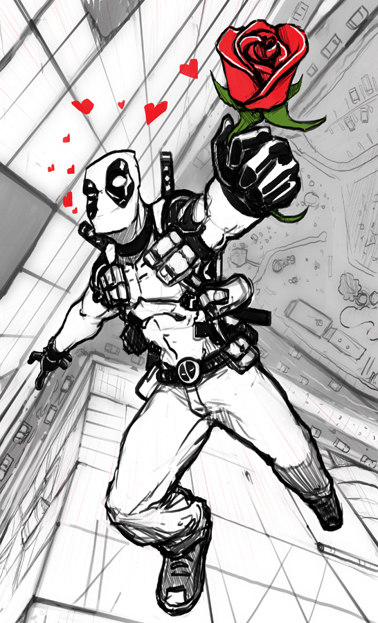 Deadpool Falling for you by xashe
