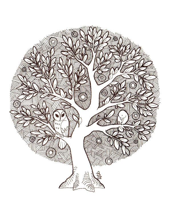 Tree-owl and bird by fjara