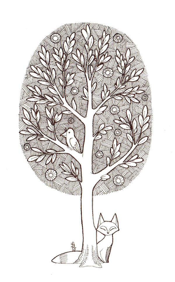 Tree-crow and fox by fjara